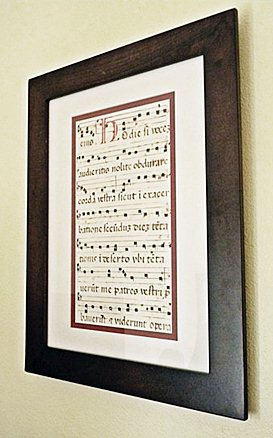Latin Missal Manuscript page wall-mounted behind our organ